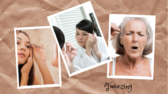 Women removing hair with tweezers
